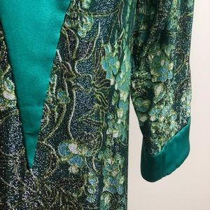Vintage Dresses - Vintage Metallic Satin Caftan Holiday Muumuu 1970s